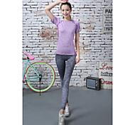 Running T-shirt Women's Short Sleeve Quick Dry Tactel Yoga / Fitness / Running Sports Sports Wear StretchyIndoor / Outdoor clothing /