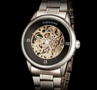 FORSINING Men's Classic Skeleton Auto Mechanical Steel Strap Watch