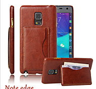 Crazy Horse Lines With Support Card Mobile Phone Set Leather Cover For Samsung Note Edge Mobile Phone