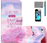 LEXY® Purple Seaside Pattern PU Full Body Leather Case with Screen Protector and Stylus for iPhone 5C