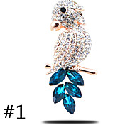 High-Grade Thick Plated With Gold Brooch Full Diamond Parrot Austria Crystal Brooch
