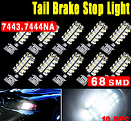 10X White 7443 68SMD T20 7440 LED High Power Tail Brake Stop Reverse Light 6000K