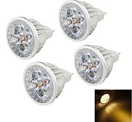 4W GU5.3(MR16) LED Spot Lampen MR16 4 High Power LED 320 lm Warmes Weiß Dekorativ DC 12 V 4 Stück