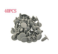 40PCS Auto Car 8mm Hole Gray Plastic Rivet Door Push in Clip