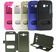 For Samsung Galaxy Case with Stand / with Windows Case Full Body Case Solid Color PU Leather Samsung J2