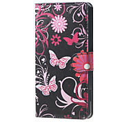 Butterfly Flowers  Card Holder Leather Stand Case for Wiko Rainbow Jam