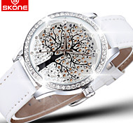 Skone® Brand Crystal Diamond Rhinestone Big Tree Dial Fashion Watches Women Quartz Watch Leather Wristwatch Cool Watches Unique Watches