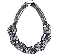 Vintage Rhinestone Pendant Chain Choker Necklace Jewelry