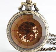 Vintage-Stil ovale Form-Legierung mechanische Taschenuhr Schlüsselanhänger (Bronze) (1pc)