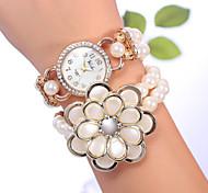 YiLiSha® Women's Rose Gold Plated Rhinestone Round Dial Big Flower Bead Double Wrap Bracelet Watches Quartz Movement Cool Watches Unique Watches