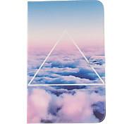 la pleine boîtier de corps motif nuage ciel en cuir PU avec support et une carte slot pour galaxy tab 9.6 e T560