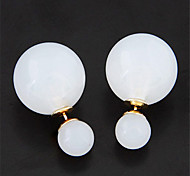 European Style Concise Fashion Candy Colored Ball Double Side Earrings