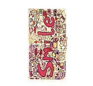 улыбка цветы шаблон PU кожаный чехол для всего тела с слот для карт и для iPhone стоят 5с