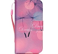 Dandelion Pattern PU Leather Material Flip Card Phone Case for iPhone 5/5S