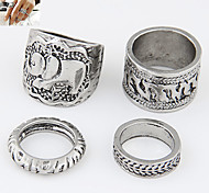 Exquisite European Style Fashion Metal Elephant Rings Set