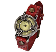 Watch Women Genuine Leather Band Flower Quartz Analog Wrist Watch (Assorted Colors) Cool Watches Unique Watches