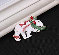 полярный медведь Рождеством брошь
