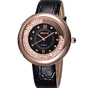 Skone® Women's Big Crystal Rose Gold Dial  Genuine Leather Straps Watches Cool Watches Unique Watches