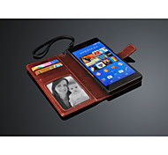 Top Quality PU Leather Wallet Case for  sony xperia Z3 with card slots