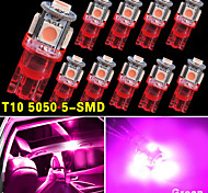 10 PCS NEW Pink Wedge T10 5050-SMD LED Light bulbs W5W 2825 158 192 168 194 12V