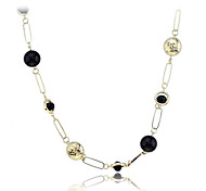Korean Fashion  Resin Ball Gold Plating Wafer Stagger Necklace