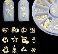 3D Gold Metal Nail Art Sticker Decoration Wheel Christmas Mix Designs DIY Manicure Nail Accessories