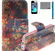 LEXY® Maple Of Autumn Pattern PU Full Body Leather Case with Screen Protector and Stylus for iPhone 5C