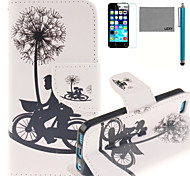 LEXY® Bicycle Lovers Pattern PU Full Body Leather Case with Screen Protector and Stylus for iPhone 5C