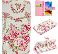 PU Leather Pink Roses for Galaxy S5/S6/S6Edge/S6Edge Plus