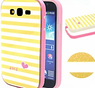 2-in-1 Yellow White Lattice Pattern TPU Back Cover + PC Bumper Shockproof Soft Case For Samsung I9060/I9082