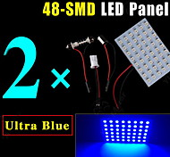 2PCS Blue Car Festoon T10 BA9S LED 48SMD Panel Interior Dome Map Light Bulb Lamp