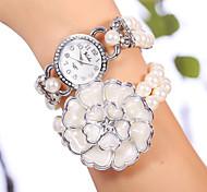 YiLiSha® Women's White Silver Rhinestone Round Dial Big Flower Bead Double Wrap Bracelet Watches