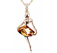 T&C Women's Elegant Gift 18k Rose Gold Plated Champagne Rhombus Crystal Dancing Girl Pendant Necklace