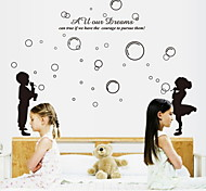 Cozy Bedroom Couple Blowing Bubbles Wallpaper Home Decor Poster
