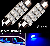 2X Ultra Blue Festoon 41mm 42mm 12SMD 211 212-2 Car Map Door Dome Interior Lamp