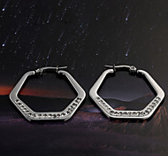European  fashion Hexagon titanium steel diamond  Silver  Hoop Earrings Wedding / Party / Daily / Casual 2pcs