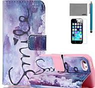 LEXY® Purple Dream Pattern PU Full Body Leather Case with Screen Protector and Stylus for iPhone 5C