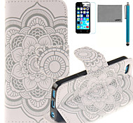 LEXY® Lace Sunflower Pattern PU Full Body Leather Case with Screen Protector and Stylus for iPhone 5C