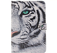 White Tiger Design PU Leather Full Body Case with Stand and Card Slot for iPad mini 4
