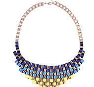 Women Navy Blue Yellow Woven Metal Pendant Chain Necklace
