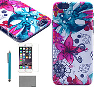 LEXY® Abstract Flower Pattern Hard PC Back Case with 9H Glass Screen Protector and Stylus for iPhone 5C