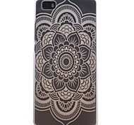 Round Flower Pattern Transparent Frosted PC Material Cell Phone Case for Huawei P8 Lite