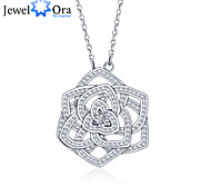 """New Accessories 925 Sterling Silver """"Flower""""Women Cubic Zirconia Necklaces & Pendants"""