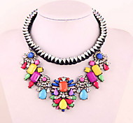 Fashion Colorful Flower Crystal Collarbone Necklace Pendant