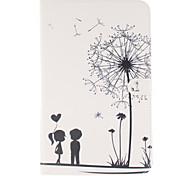 motif couples de pissenlit en cuir PU cas de tout le corps avec support et une carte slot pour galaxy tab 9.6 e T560