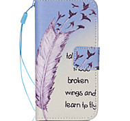 Feather  Pattern PU Leather Phone Case For iPhone 5C