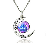 Women's Galaxy Star Moon Time Gemstone Pendant Necklace