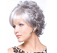 Stylish Casual Middle length Wavy Hair Wig White curly wigs