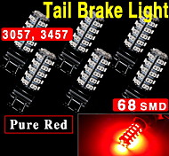 6X Pure Red Car 3157 3057 3457 4157 3047 Brake Tail Stop Light LED Bulbs 68-SMD