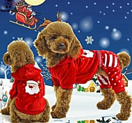 Cat / Dog Coat / Hoodie / Pants Red Winter Characters / Polka Dots Christmas / New Year's